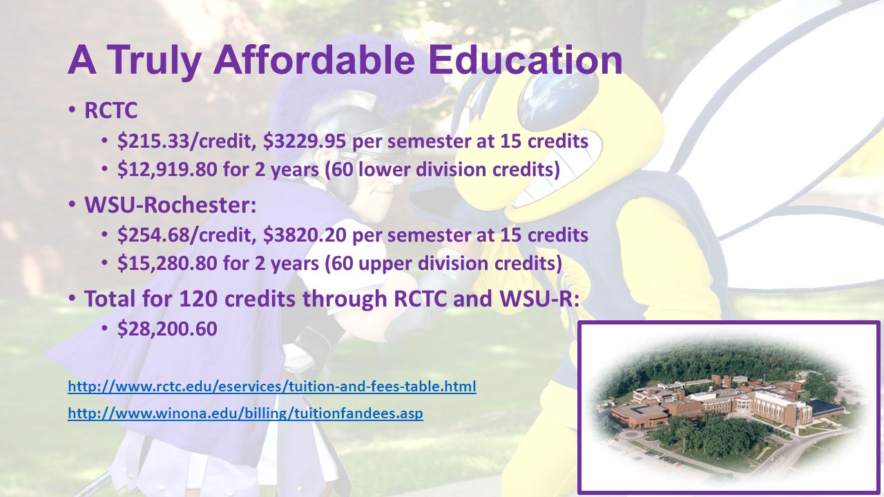 A Truly Affordable Education RCTC $215.33/credit, $3229.95 per semester at 15 credits $12,919.80 for 2 years (60 lower division credits) WSU-Rochester
