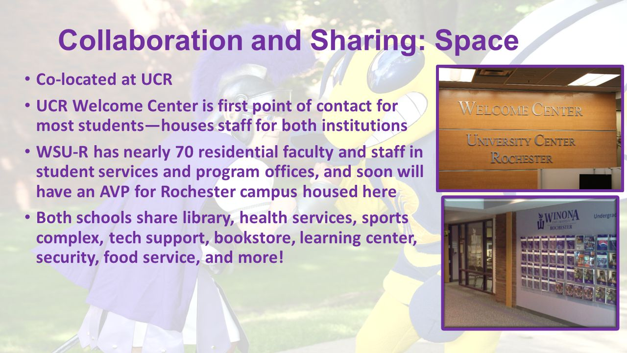 Collaboration and Sharing: Space Co-located at UCR UCR Welcome Center is first point of contact for most students—houses staff for both institutions W