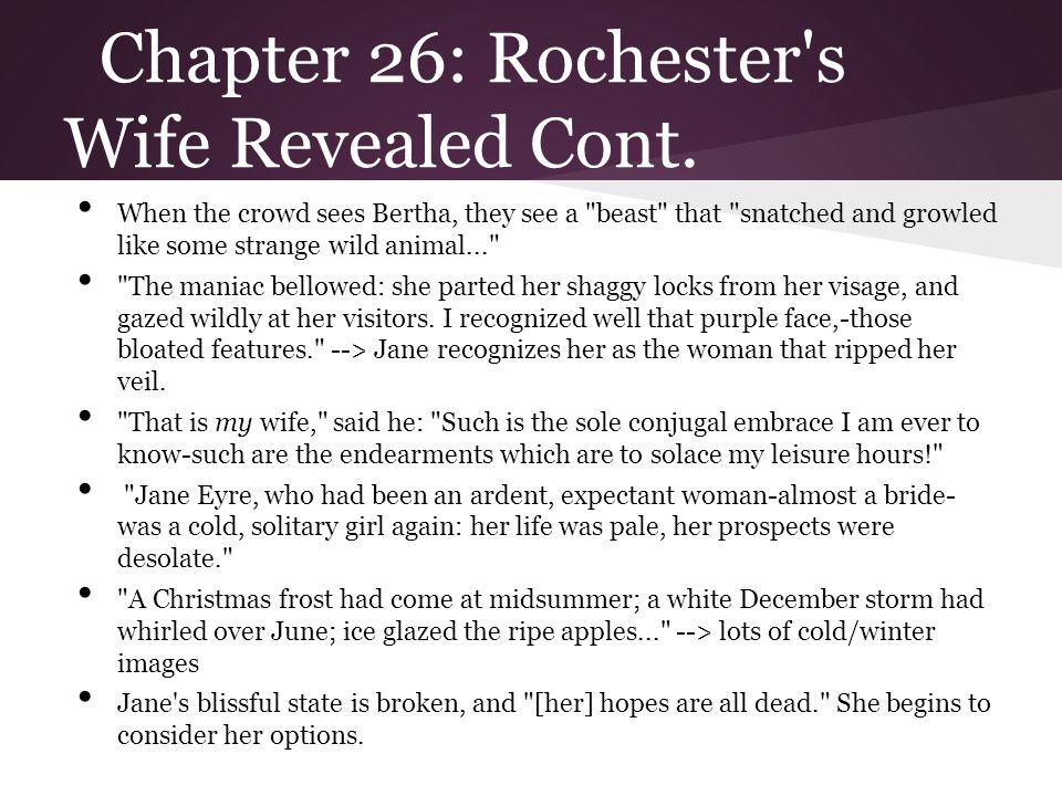 Chapter 26: Jane s desolation (almost a bride) and Jane renounces love As the title of this section states, this passage at the end of Chapter 26 talks about the final events of her bitter hour [that] cannot be described.