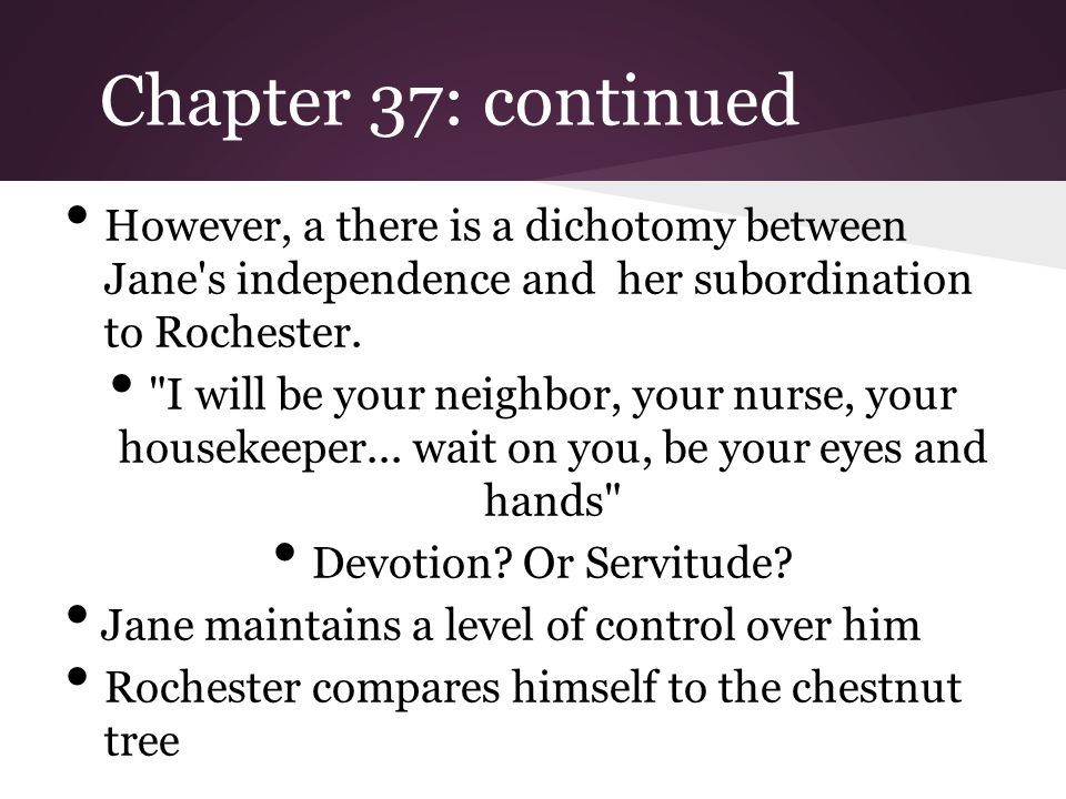 Chapter 37: Resolution to marry Rochester - Jane ventures to Ferndean to visit the now blind Mr.