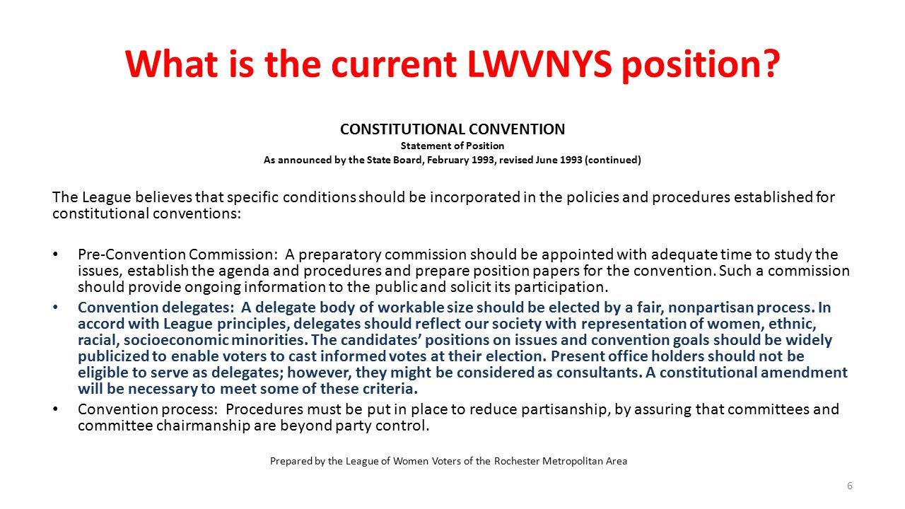 What is the current LWVNYS position.