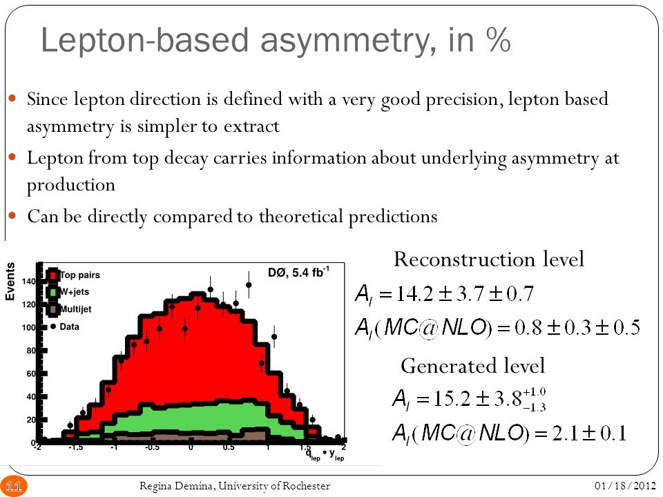 Lepton-based asymmetry, in % Since lepton direction is defined with a very good precision, lepton based asymmetry is simpler to extract Lepton from top decay carries information about underlying asymmetry at production Can be directly compared to theoretical predictions Reconstruction level Generated level 01/18/201211Regina Demina, University of Rochester