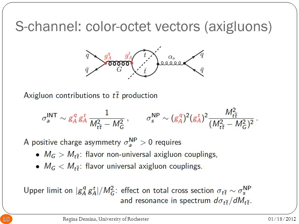 S-channel: color-octet vectors (axigluons) 01/18/2012Regina Demina, University of Rochester18