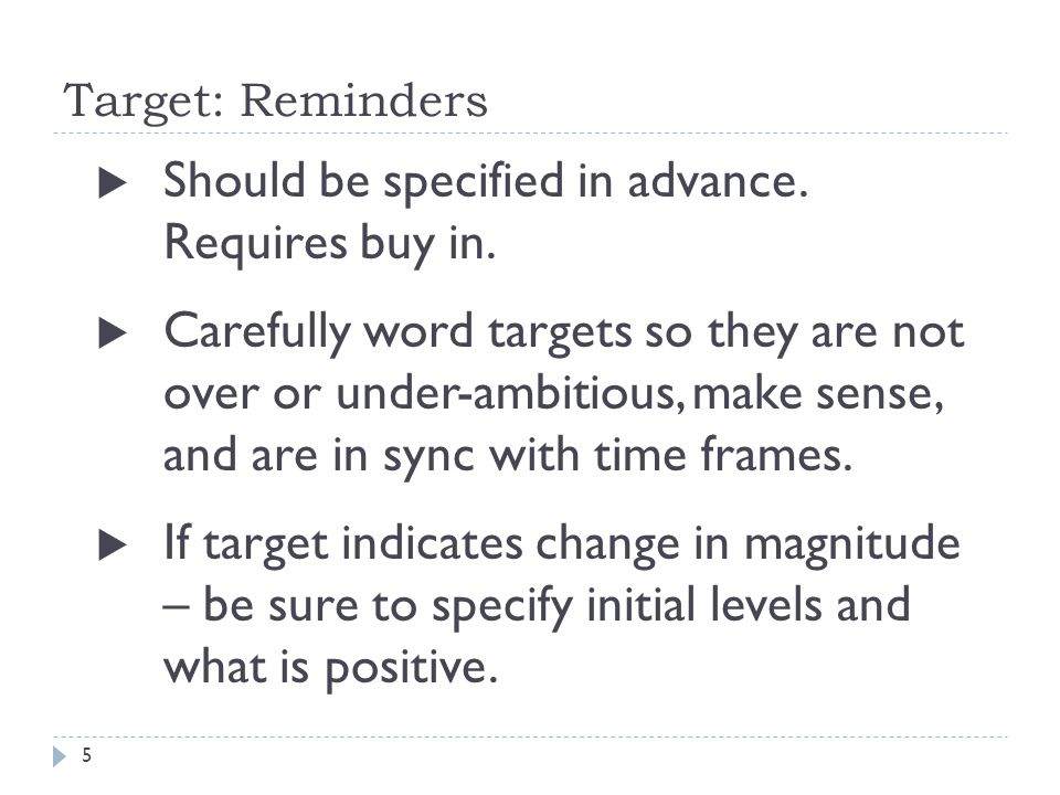Target: Reminders  Should be specified in advance.