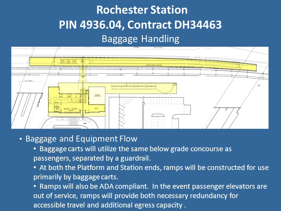 Rochester Station PIN 4936.04, Contract DH34463 Baggage Handling Baggage and Equipment Flow Baggage carts will utilize the same below grade concourse as passengers, separated by a guardrail.