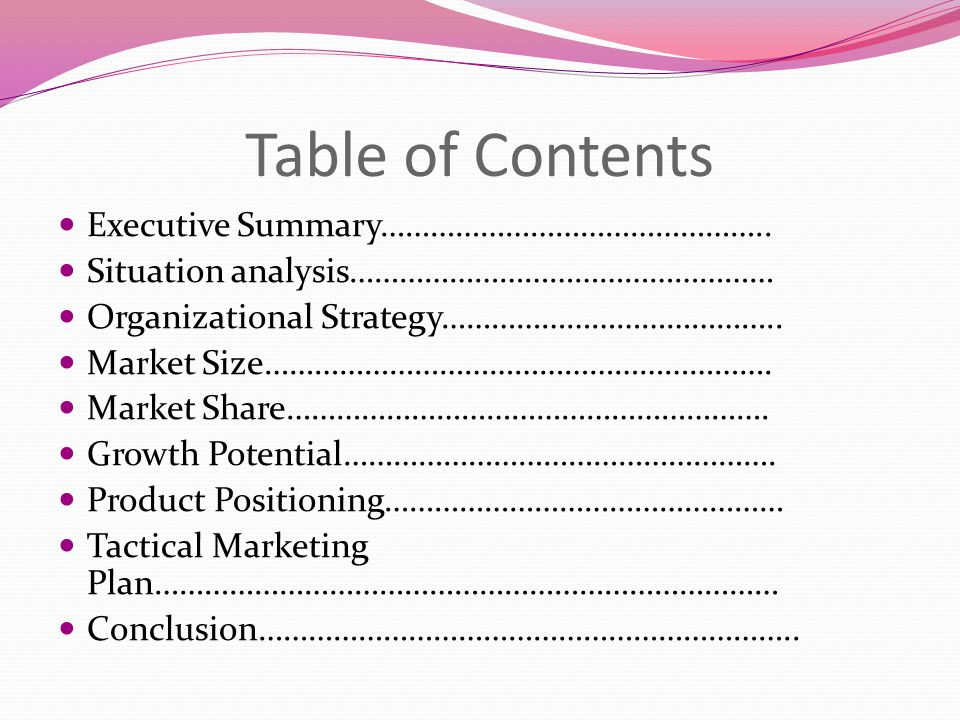 Table of Contents Executive Summary………………………………………..