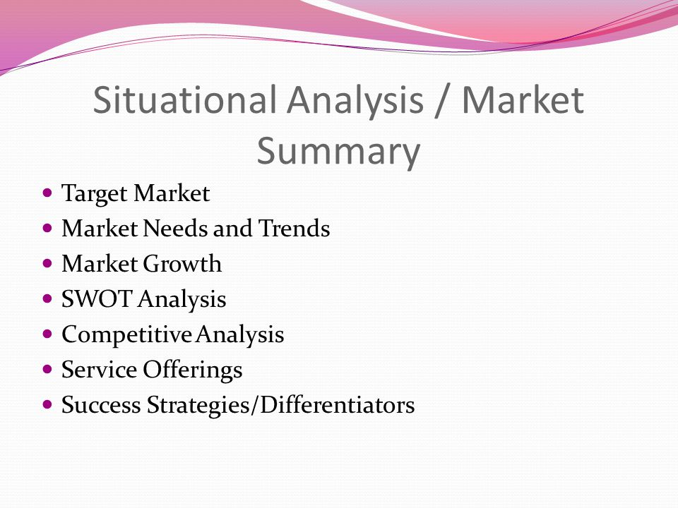 Situational Analysis / Market Summary Target Market Market Needs and Trends Market Growth SWOT Analysis Competitive Analysis Service Offerings Success Strategies/Differentiators