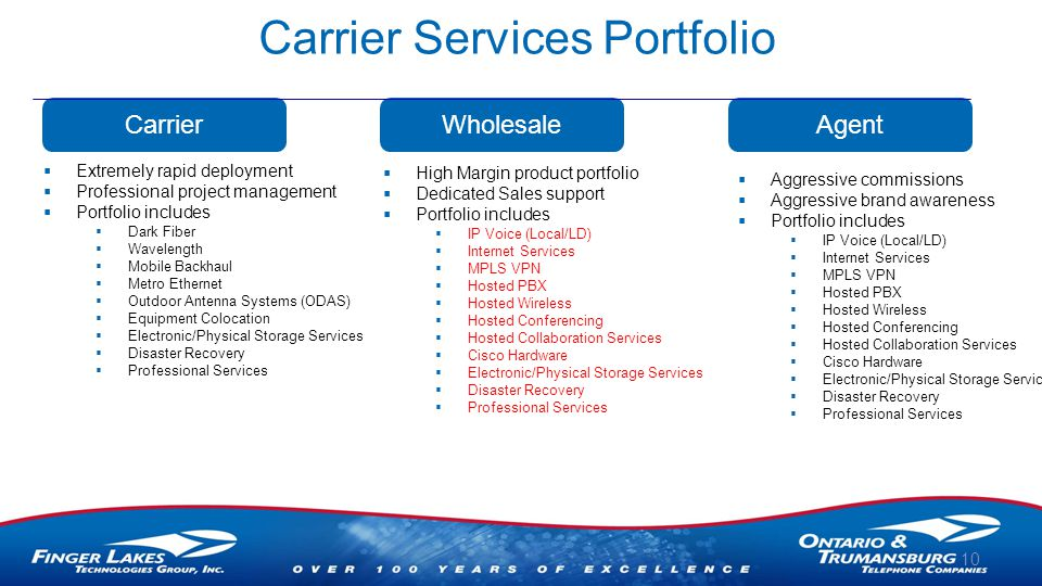 Carrier Services Portfolio 10 Carrier  Extremely rapid deployment  Professional project management  Portfolio includes  Dark Fiber  Wavelength  Mobile Backhaul  Metro Ethernet  Outdoor Antenna Systems (ODAS)  Equipment Colocation  Electronic/Physical Storage Services  Disaster Recovery  Professional Services Wholesale  High Margin product portfolio  Dedicated Sales support  Portfolio includes  IP Voice (Local/LD)  Internet Services  MPLS VPN  Hosted PBX  Hosted Wireless  Hosted Conferencing  Hosted Collaboration Services  Cisco Hardware  Electronic/Physical Storage Services  Disaster Recovery  Professional Services Agent  Aggressive commissions  Aggressive brand awareness  Portfolio includes  IP Voice (Local/LD)  Internet Services  MPLS VPN  Hosted PBX  Hosted Wireless  Hosted Conferencing  Hosted Collaboration Services  Cisco Hardware  Electronic/Physical Storage Services  Disaster Recovery  Professional Services