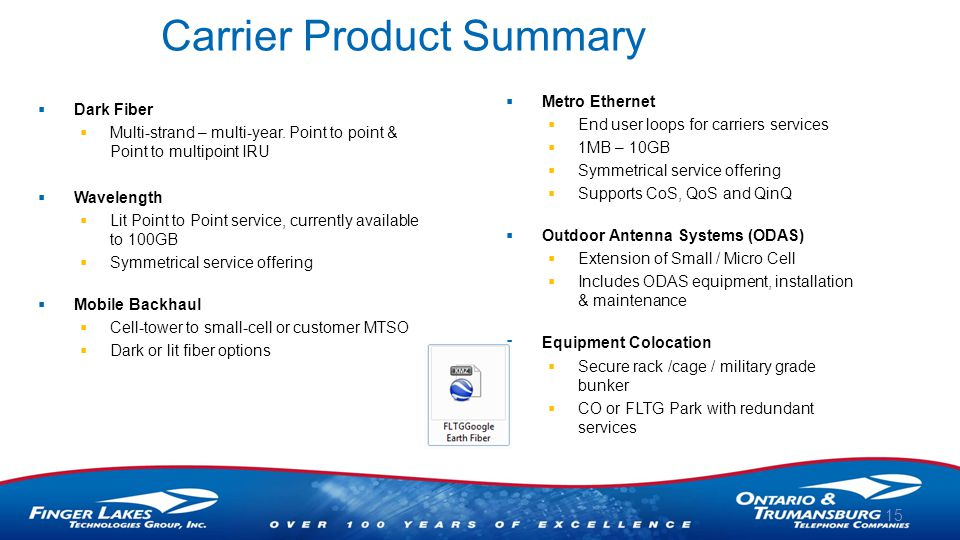 Carrier Product Summary  Dark Fiber  Multi-strand – multi-year.