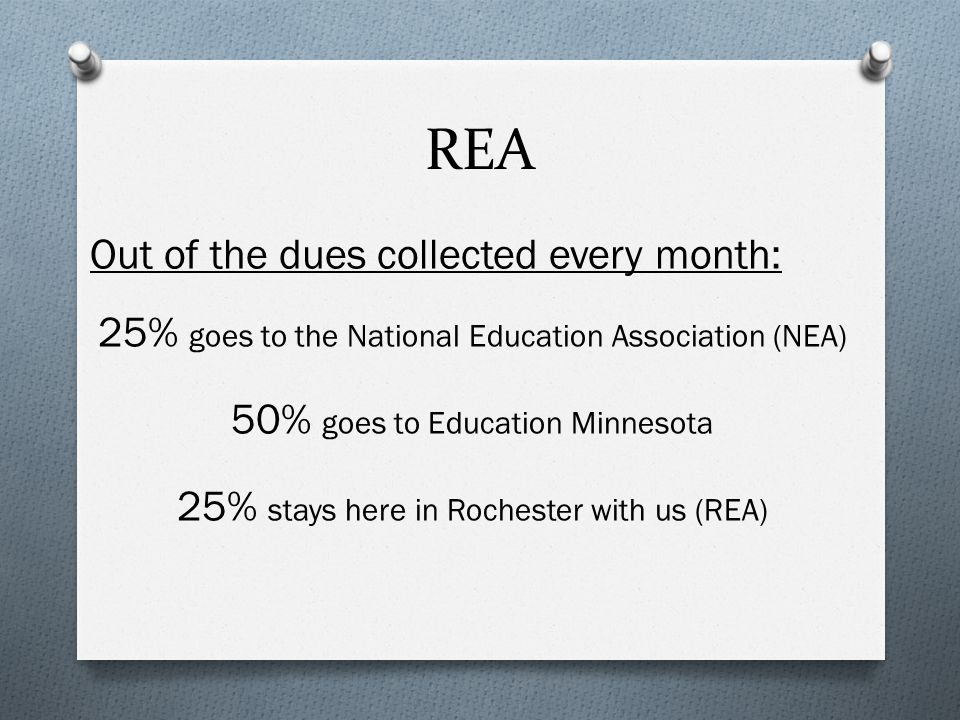 REA Out of the dues collected every month: 25% goes to the National Education Association (NEA) 50% goes to Education Minnesota 25% stays here in Rochester with us (REA)
