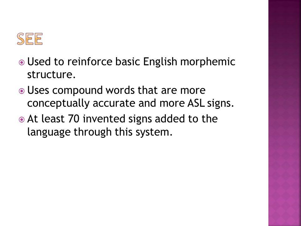  Used to reinforce basic English morphemic structure.