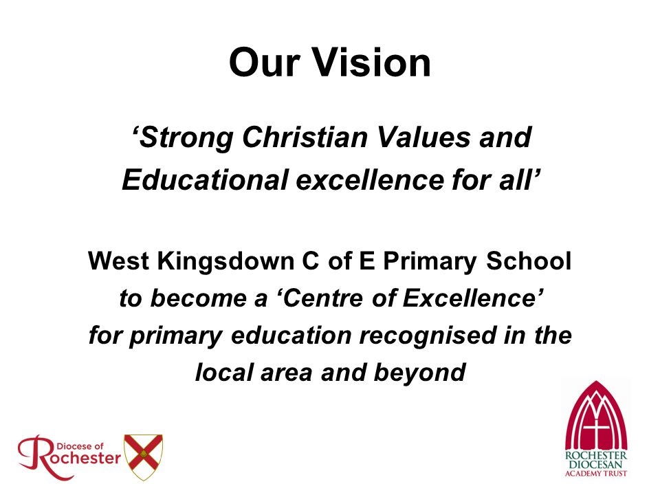 Our Vision 'Strong Christian Values and Educational excellence for all' West Kingsdown C of E Primary School to become a 'Centre of Excellence' for pr