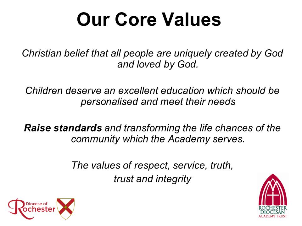 Our Core Values Christian belief that all people are uniquely created by God and loved by God. Children deserve an excellent education which should be