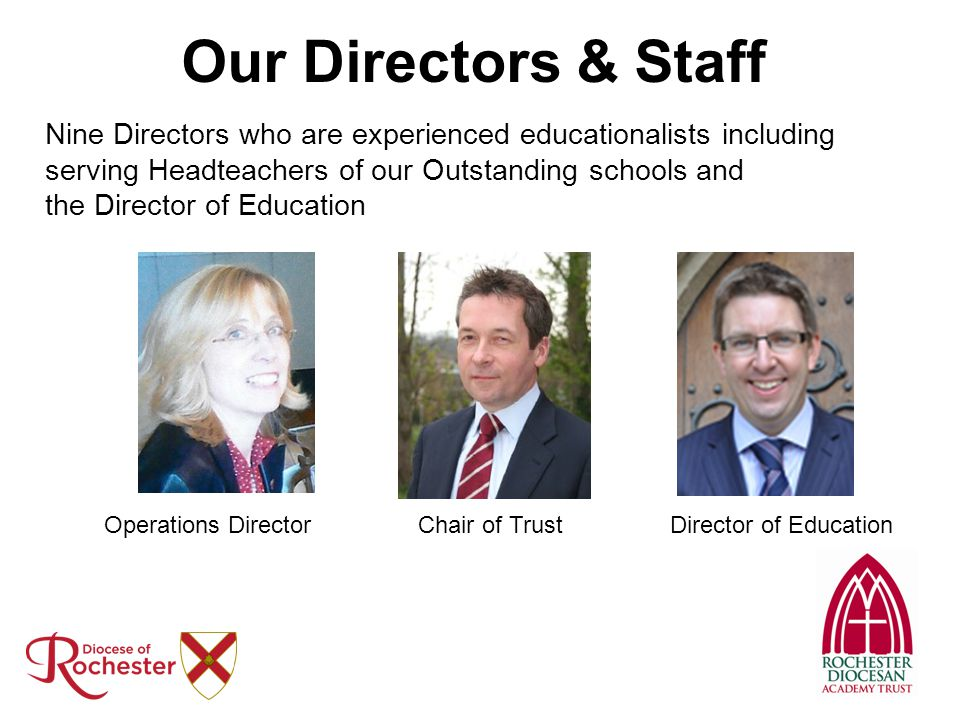 Our Directors & Staff Nine Directors who are experienced educationalists including serving Headteachers of our Outstanding schools and the Director of