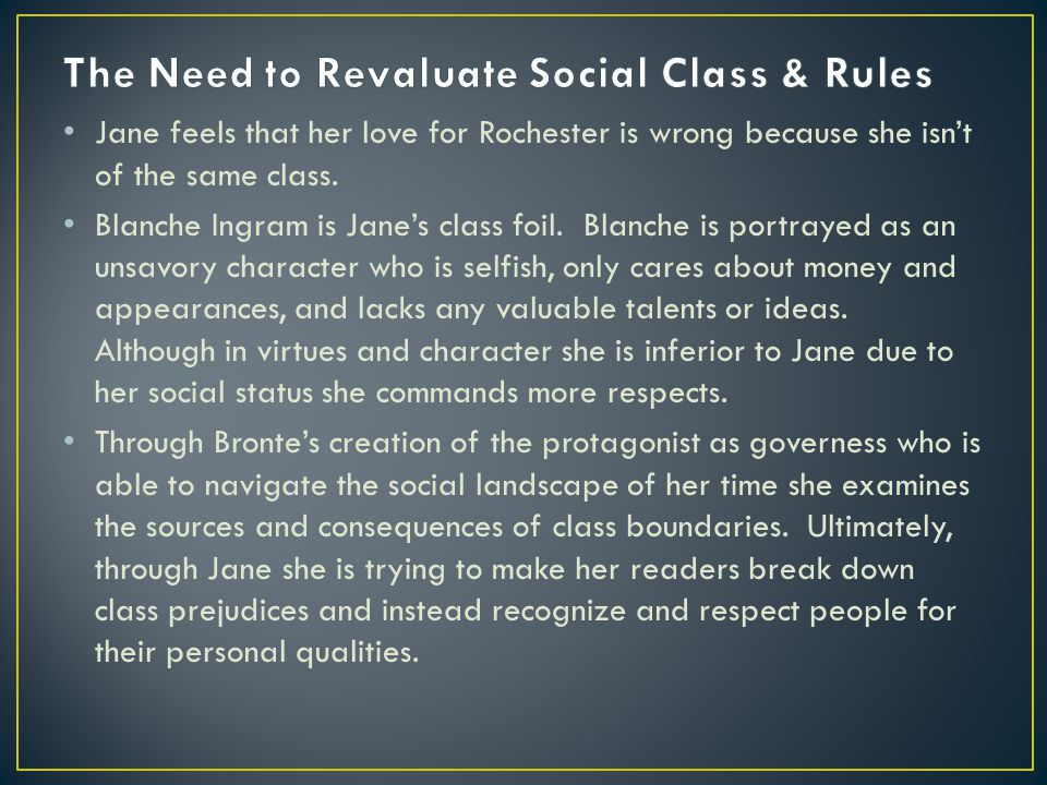 Jane feels that her love for Rochester is wrong because she isn't of the same class.