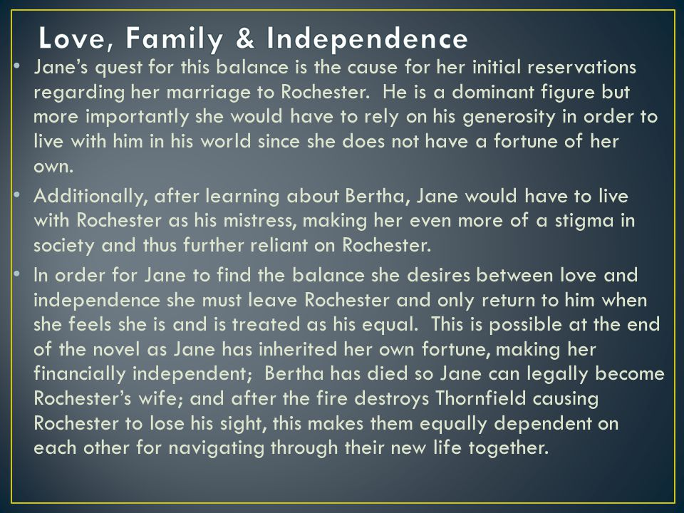 Jane's quest for this balance is the cause for her initial reservations regarding her marriage to Rochester.