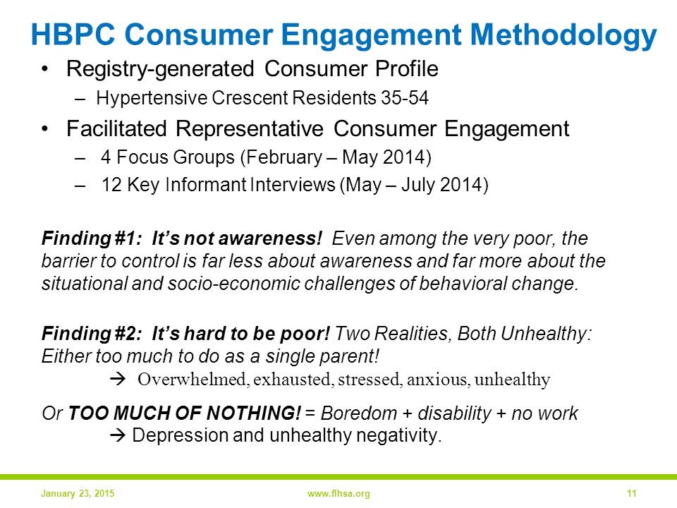 HBPC Consumer Engagement Methodology Registry-generated Consumer Profile –Hypertensive Crescent Residents 35-54 Facilitated Representative Consumer Engagement – 4 Focus Groups (February – May 2014) – 12 Key Informant Interviews (May – July 2014) Finding #1: It's not awareness.