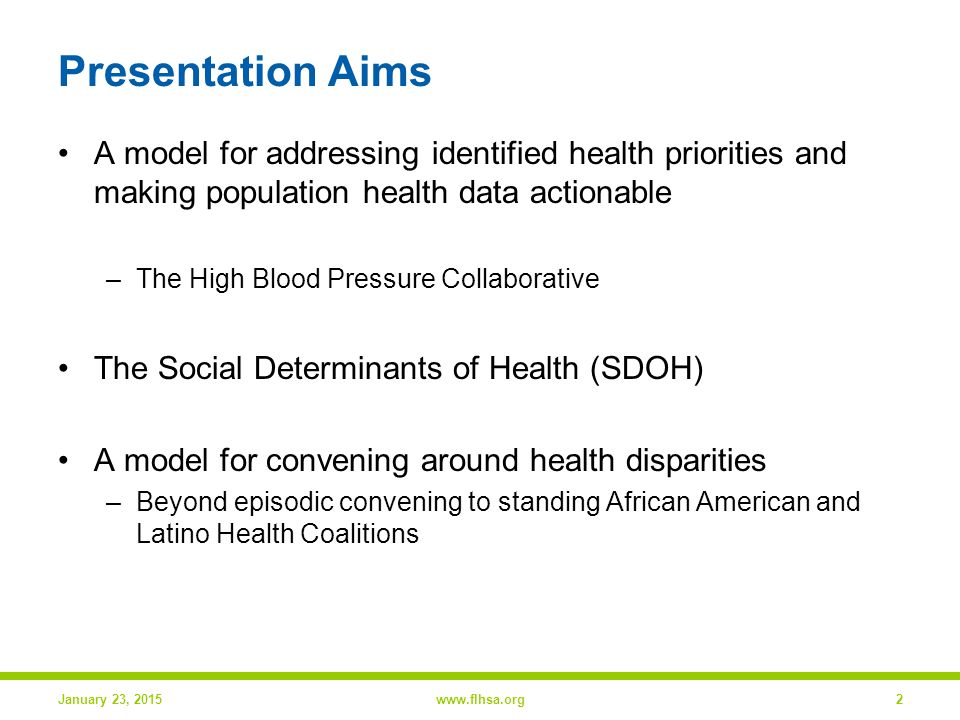 High Blood Pressure Collaborative (HBPC) High Blood Pressure Registry Best Practice –Disseminate guidelines, recommendations and literature, design practice reports, address clinical inertia Practice Improvement Consultants –Academic detailing model, clinicians based in local health systems, motivate transformational change Community-Based Interventions January 23, 2015www.flhsa.org3