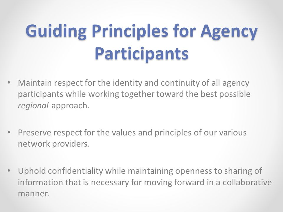 Guiding Principles for Agency Participants Maintain respect for the identity and continuity of all agency participants while working together toward the best possible regional approach.