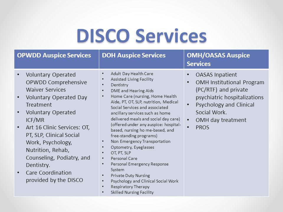 DISCO Services OPWDD Auspice ServicesDOH Auspice ServicesOMH/OASAS Auspice Services Voluntary Operated OPWDD Comprehensive Waiver Services Voluntary O