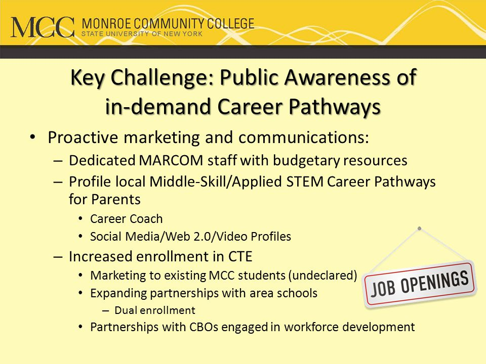 MCC Career Coach Launch Plan Target Audiences: MCC students and employees MCC Foundation Secondary schools, including Skill Centers (students, teachers, counselors) Parents of current and prospective students Partners – current and prospective Business and industry State University of New York - SUNY Community Based Organizations Public libraries