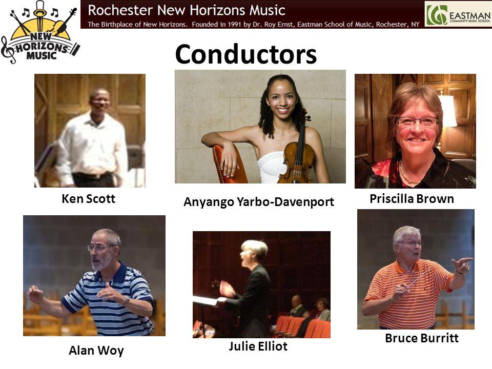 Conductors Priscilla Brown Bruce Burritt Alan Woy Ken Scott Anyango Yarbo-Davenport Julie Elliot