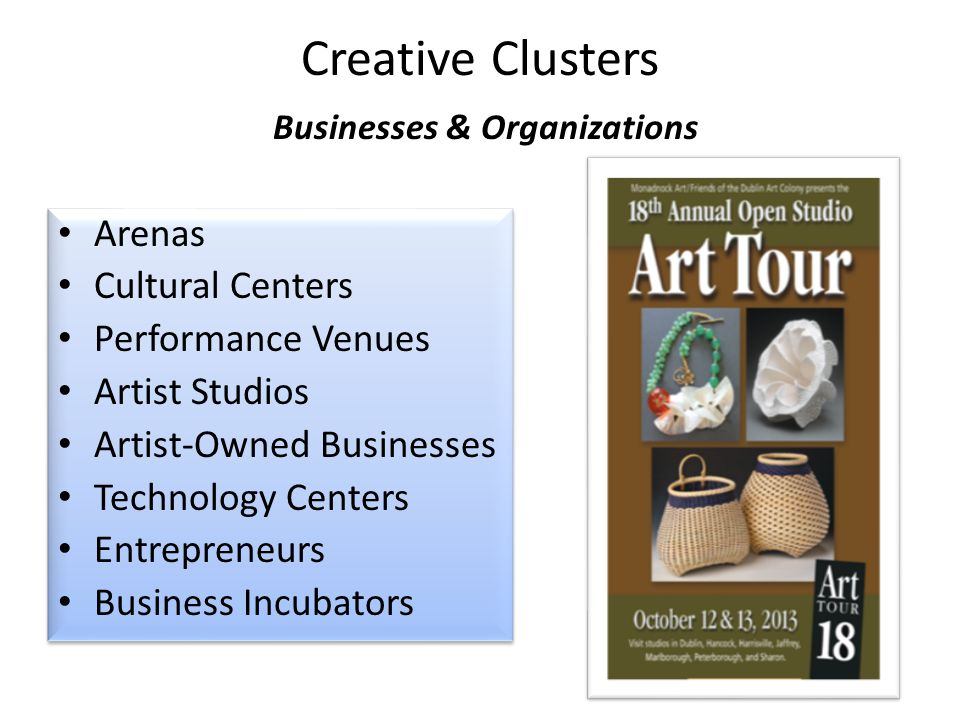Creative Clusters Businesses & Organizations Arenas Cultural Centers Performance Venues Artist Studios Artist-Owned Businesses Technology Centers Entr