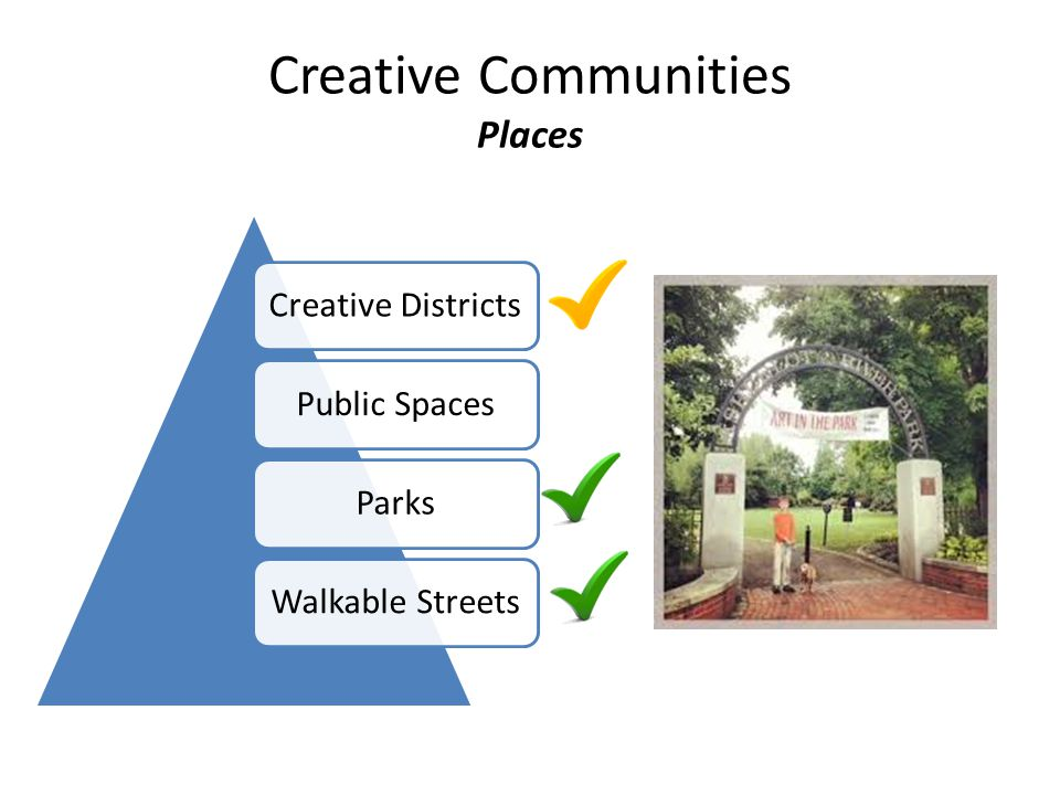 Creative Communities Places Creative DistrictsPublic SpacesParksWalkable Streets