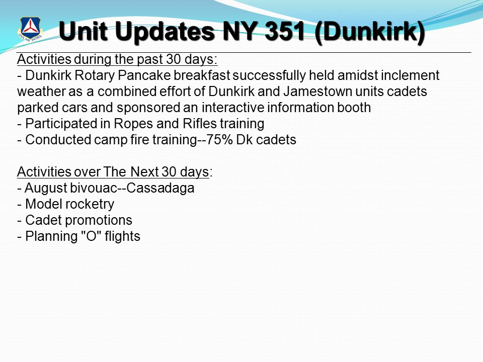 Unit Updates NY 351 (Dunkirk) Activities during the past 30 days: - Dunkirk Rotary Pancake breakfast successfully held amidst inclement weather as a c