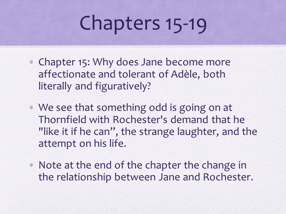 Chapters 15-19 Chapter 15: Why does Jane become more affectionate and tolerant of Adèle, both literally and figuratively.