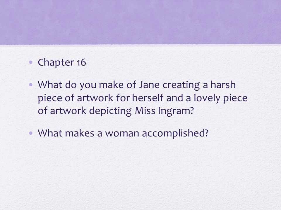 Chapter 16 What do you make of Jane creating a harsh piece of artwork for herself and a lovely piece of artwork depicting Miss Ingram.
