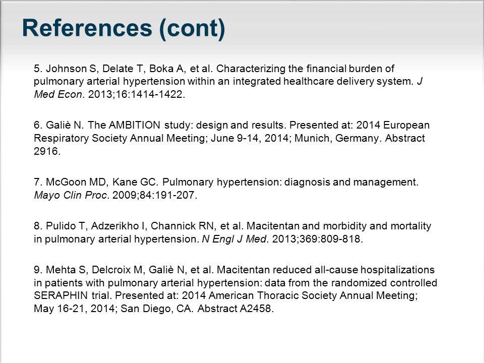 References (cont) 5. Johnson S, Delate T, Boka A, et al.