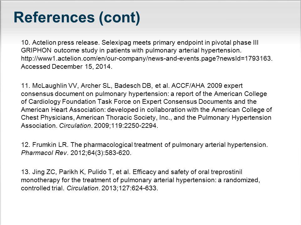 References (cont) 10. Actelion press release.