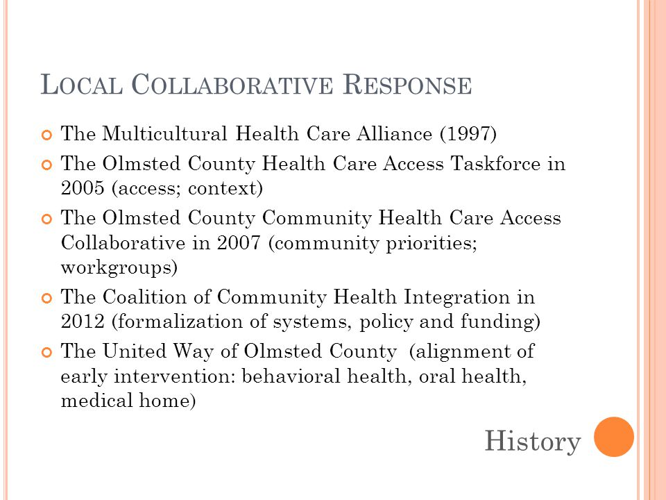L OCAL C OLLABORATIVE R ESPONSE The Multicultural Health Care Alliance (1997) The Olmsted County Health Care Access Taskforce in 2005 (access; context) The Olmsted County Community Health Care Access Collaborative in 2007 (community priorities; workgroups) The Coalition of Community Health Integration in 2012 (formalization of systems, policy and funding) The United Way of Olmsted County (alignment of early intervention: behavioral health, oral health, medical home ) History