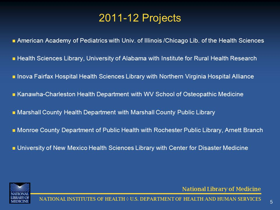 National Library of Medicine NATIONAL INSTITUTES OF HEALTH ◊ U.S.