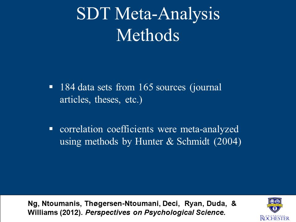 SDT Meta-Analysis Methods  184 data sets from 165 sources (journal articles, theses, etc.)  correlation coefficients were meta-analyzed using method