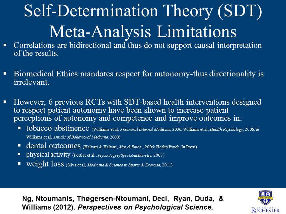 Self-Determination Theory (SDT) Meta-Analysis Limitations  Correlations are bidirectional and thus do not support causal interpretation of the result