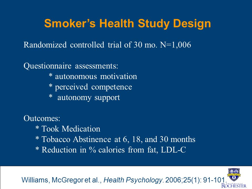 Smoker's Health Study Design Randomized controlled trial of 30 mo. N=1,006 Questionnaire assessments: * autonomous motivation * perceived competence *