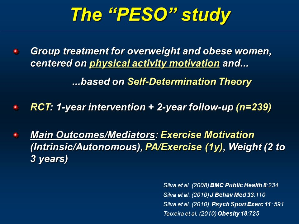Group treatment for overweight and obese women, centered on physical activity motivation and......based on Self-Determination Theory...based on Self-D