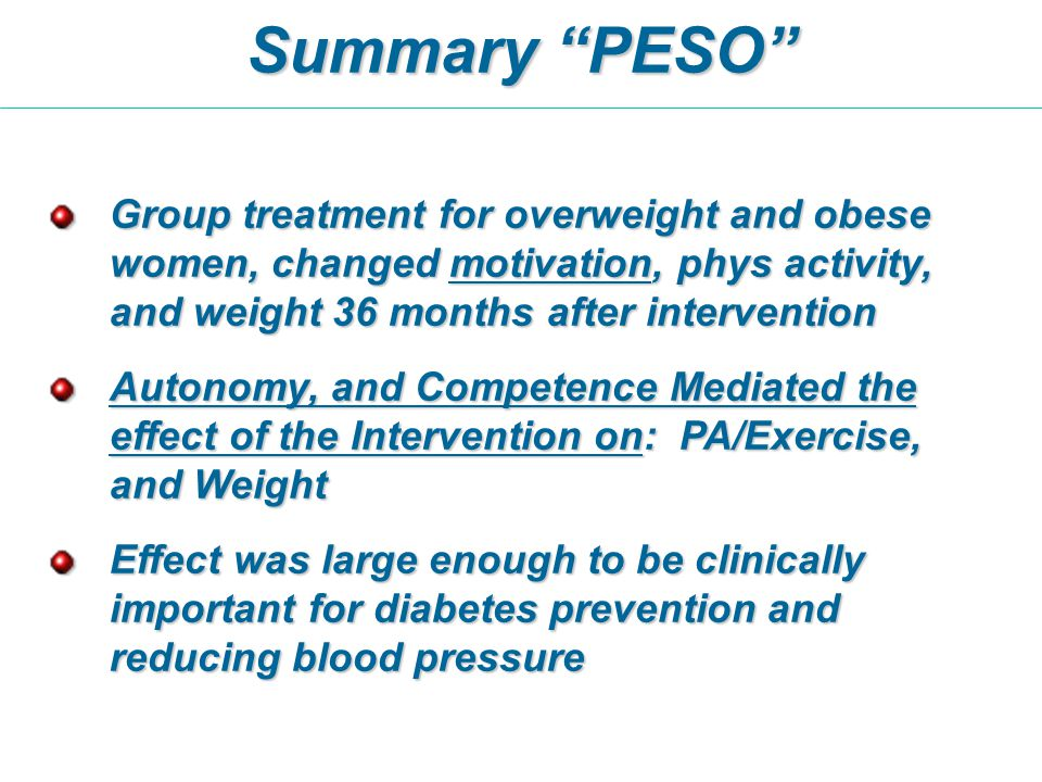 Group treatment for overweight and obese women, changed motivation, phys activity, and weight 36 months after intervention Autonomy, and Competence Me