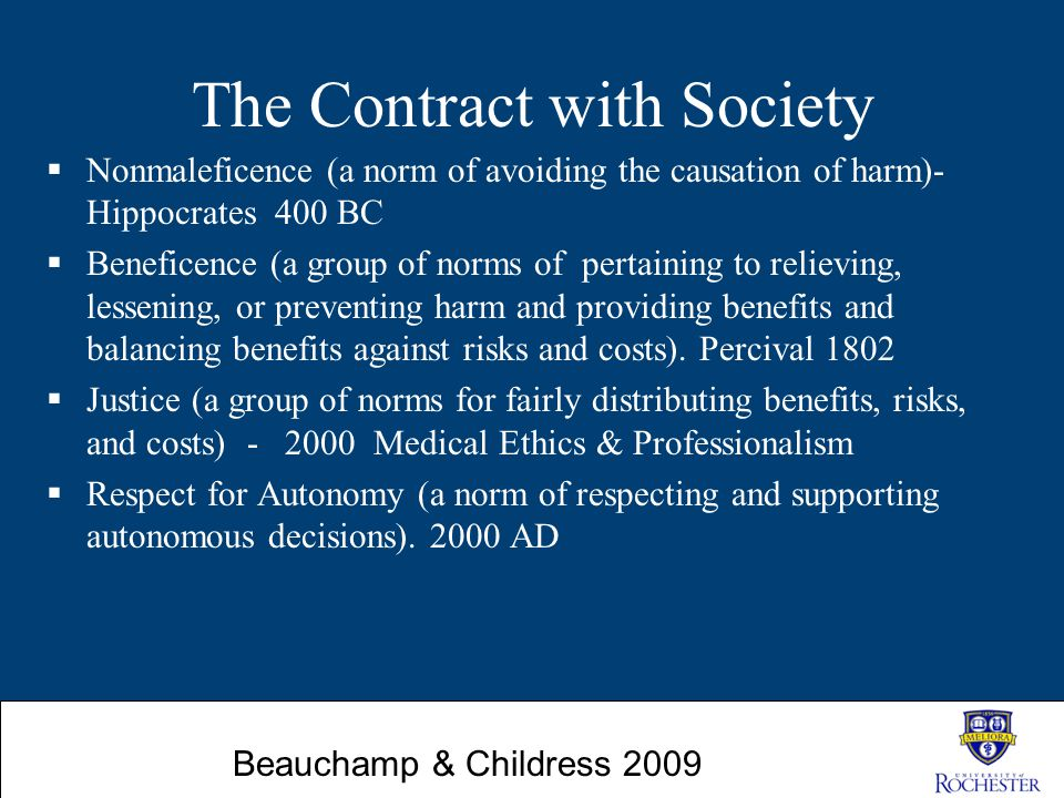 The Contract with Society  Nonmaleficence (a norm of avoiding the causation of harm)- Hippocrates 400 BC  Beneficence (a group of norms of pertainin