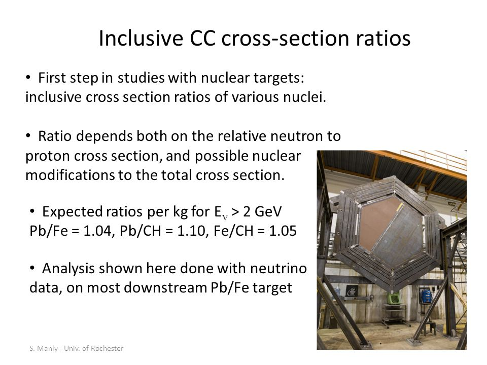 Inclusive CC cross-section ratios Expected ratios per kg for E > 2 GeV Pb/Fe = 1.04, Pb/CH = 1.10, Fe/CH = 1.05 First step in studies with nuclear targets: inclusive cross section ratios of various nuclei.