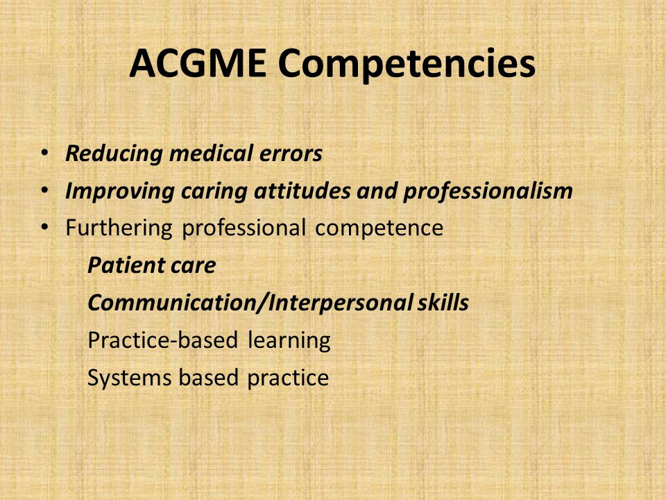 ACGME Competencies Reducing medical errors Improving caring attitudes and professionalism Furthering professional competence Patient care Communicatio