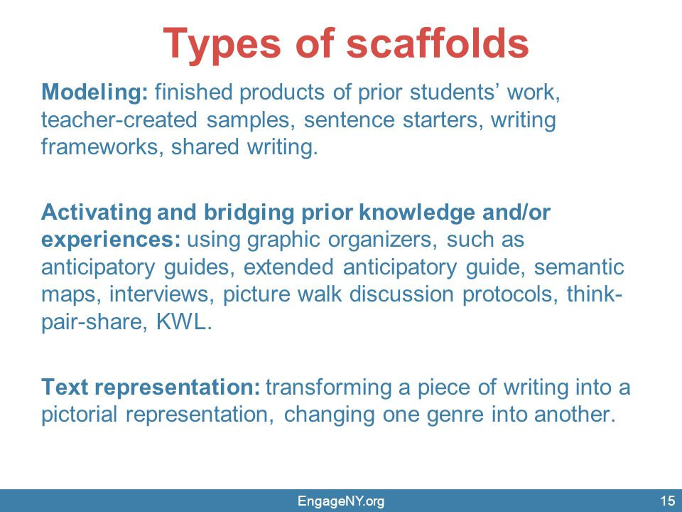 Types of scaffolds Modeling: finished products of prior students' work, teacher-created samples, sentence starters, writing frameworks, shared writing