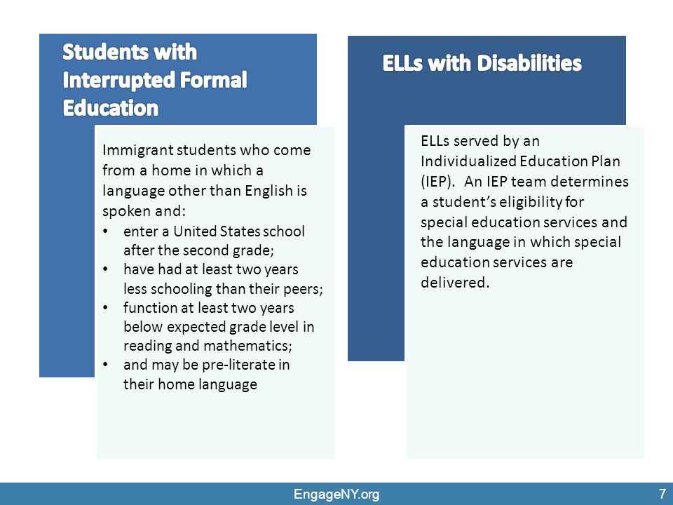 EngageNY.org7 ELLs served by an Individualized Education Plan (IEP). An IEP team determines a student's eligibility for special education services and