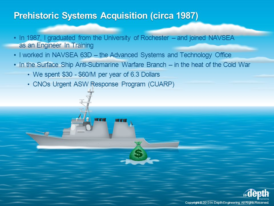 Prehistoric Systems Acquisition (circa 1987) In 1987, I graduated from the University of Rochester – and joined NAVSEA as an Engineer In Training I worked in NAVSEA 63D – the Advanced Systems and Technology Office In the Surface Ship Anti-Submarine Warfare Branch – in the heat of the Cold War We spent $30 - $60/M per year of 6.3 Dollars CNOs Urgent ASW Response Program (CUARP) Copyright © 2013 In-Depth Engineering.