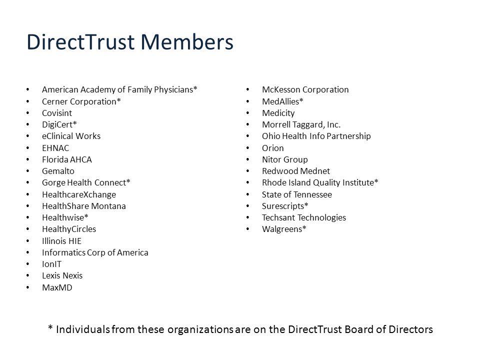DirectTrust Members American Academy of Family Physicians* Cerner Corporation* Covisint DigiCert* eClinical Works EHNAC Florida AHCA Gemalto Gorge Hea