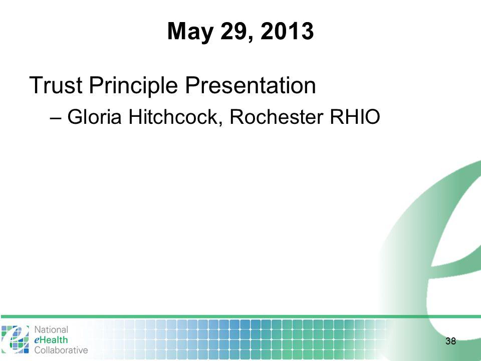 May 29, 2013 Trust Principle Presentation – Gloria Hitchcock, Rochester RHIO 38