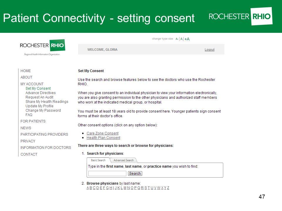 Patient Connectivity - setting consent 47