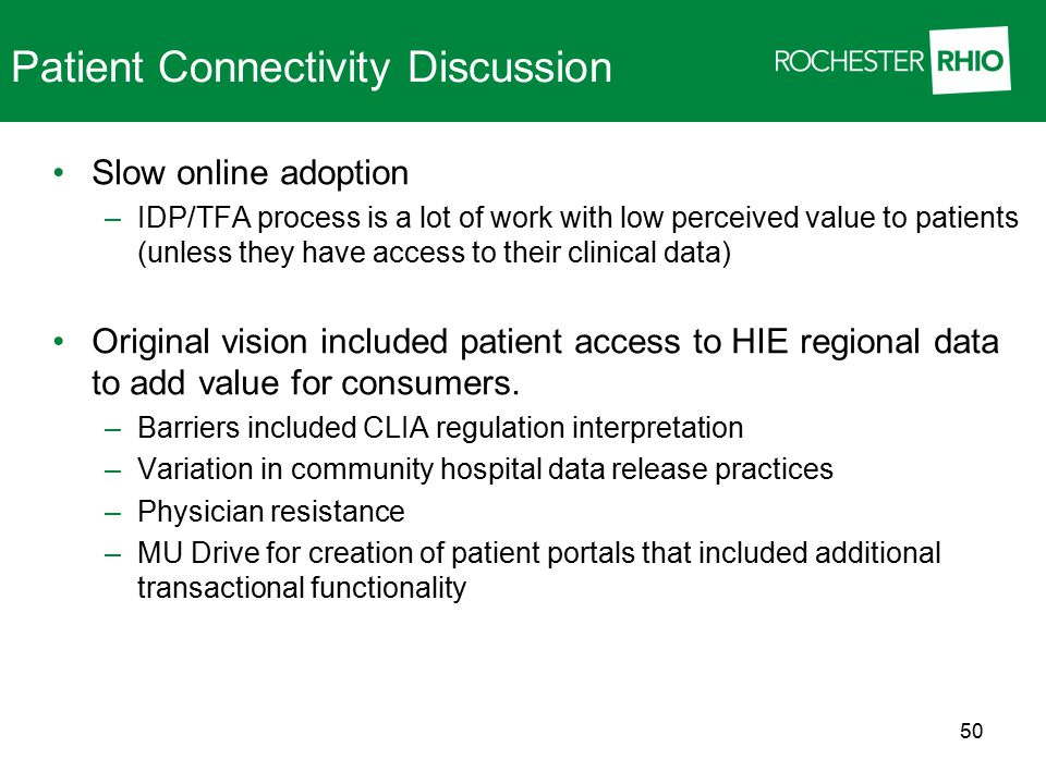Patient Connectivity Discussion Slow online adoption –IDP/TFA process is a lot of work with low perceived value to patients (unless they have access t